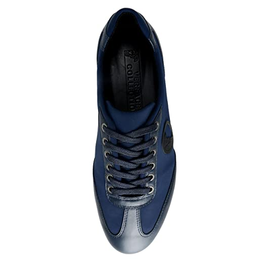 Amazon.com: Versace Collection Men's Blue Leather Fashion Sneakers Shoes US  11 IT 44;: Clothing