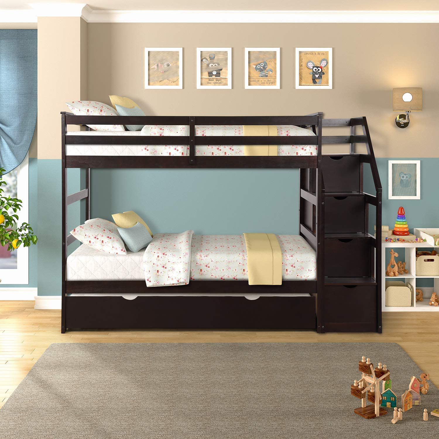 ALI VIRGO Solid Wood Bed Hardwood Twin Bunk Frame with Staircase and 4 Storage Drawers, Natural Finish, Espresso