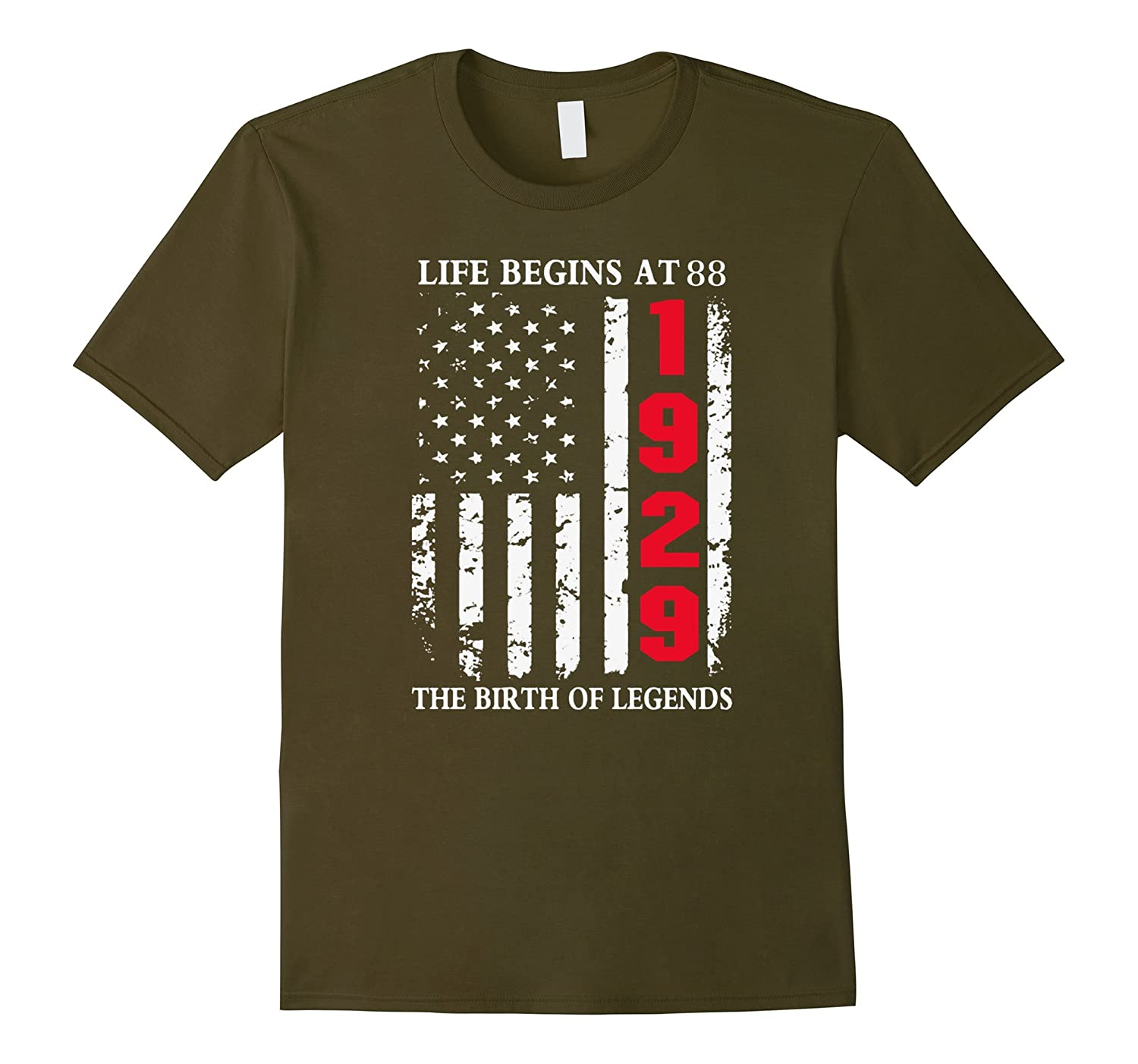 1929 The Birth Of Legends Life Begins At 88 Birthday T-shirt-TD
