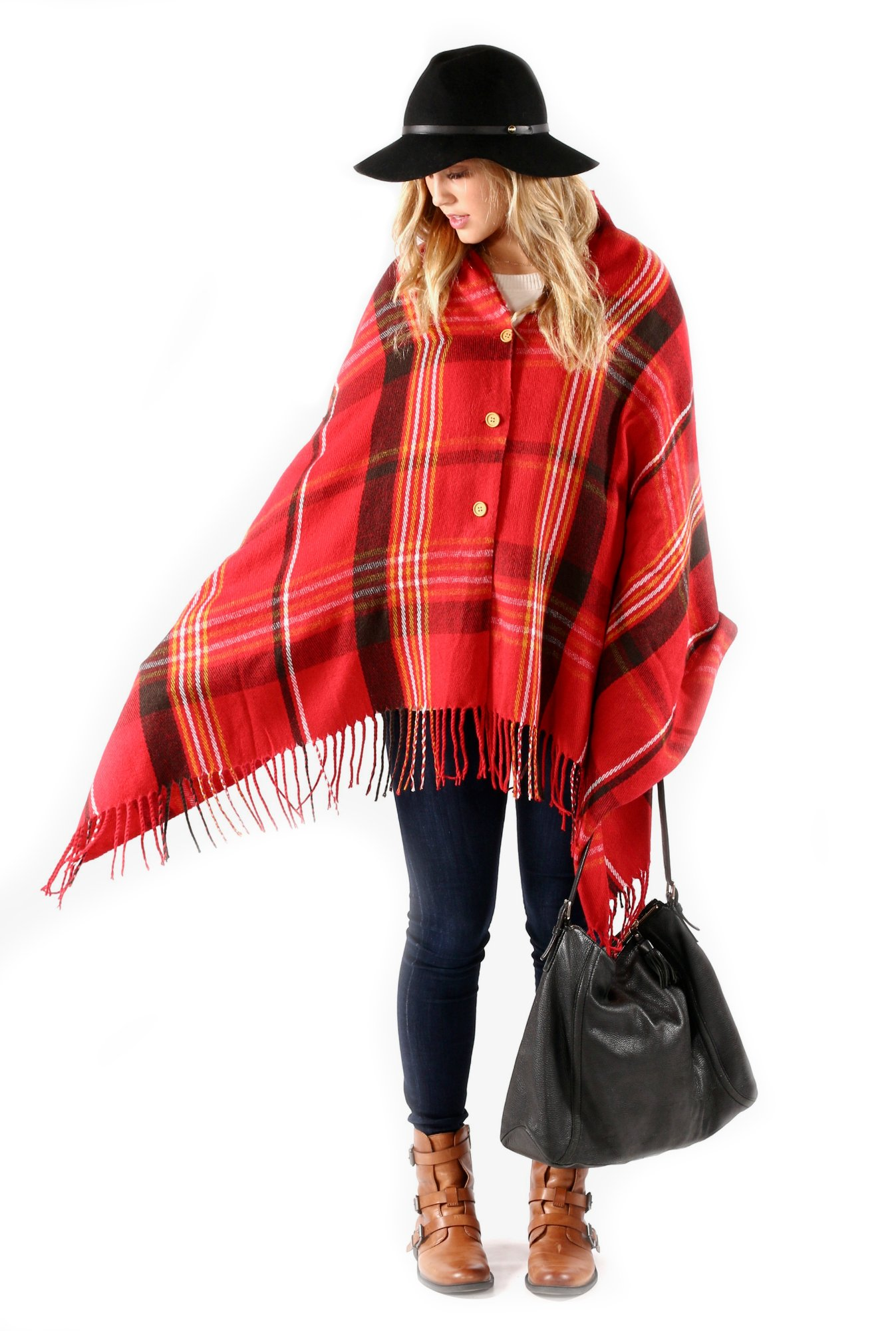 FLASH SALE - Pretty Simple Plaid Button Blanket Scarf Shawl Women's Wrap (Red)