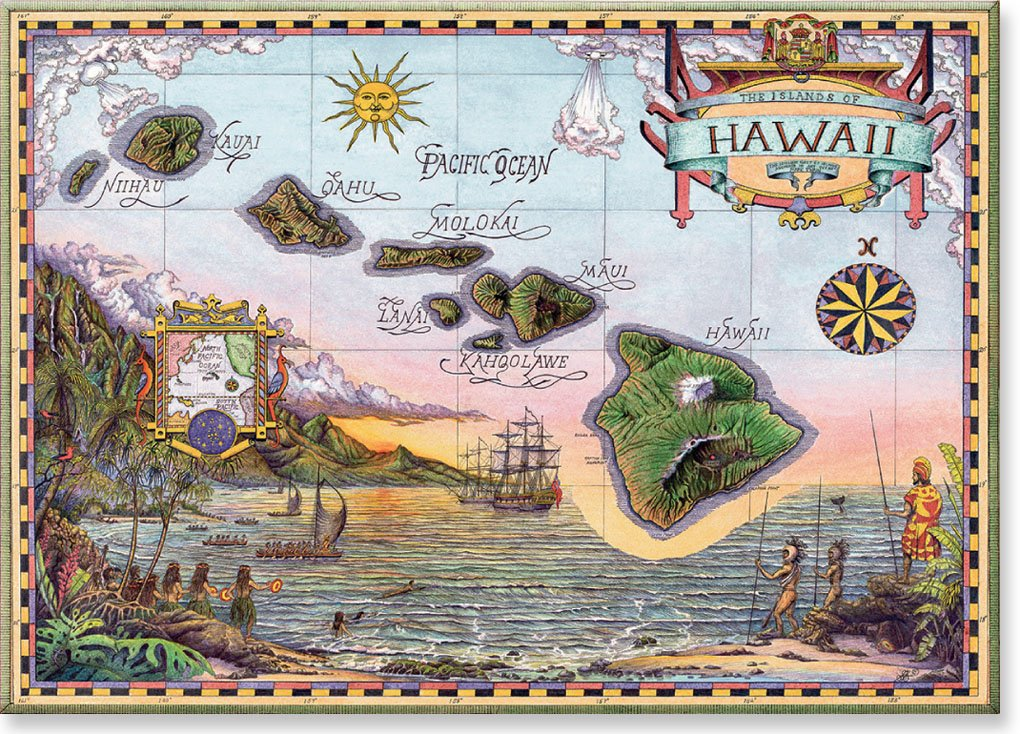 Hawaiian Art Collectible Refrigerator Magnet - Map of Old Hawaii