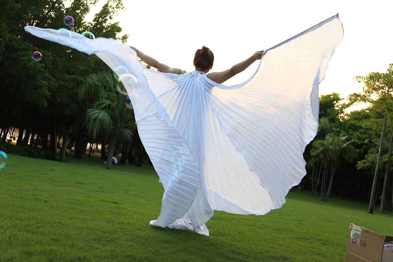 Dance Fairy Alas de ISIS Danza del Vientre Trajes de la Etapa Accesorios Props con Palos//Varillas,Blanco