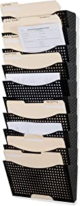 Wallniture Dots Lisbon 10-Tier Black Wall File Holder Organizer for Organization and Storage, Metal Office Decor and Magazine Holder