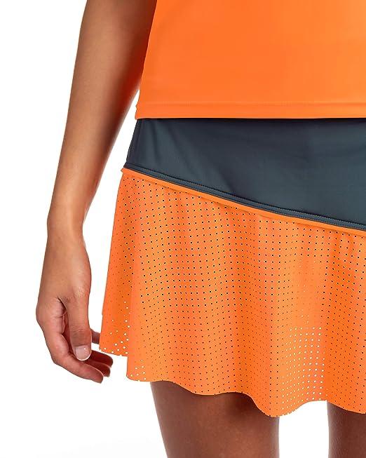 Falda de Tenis o Padel IDAWEN, Color Gris y Naranja, Short ...