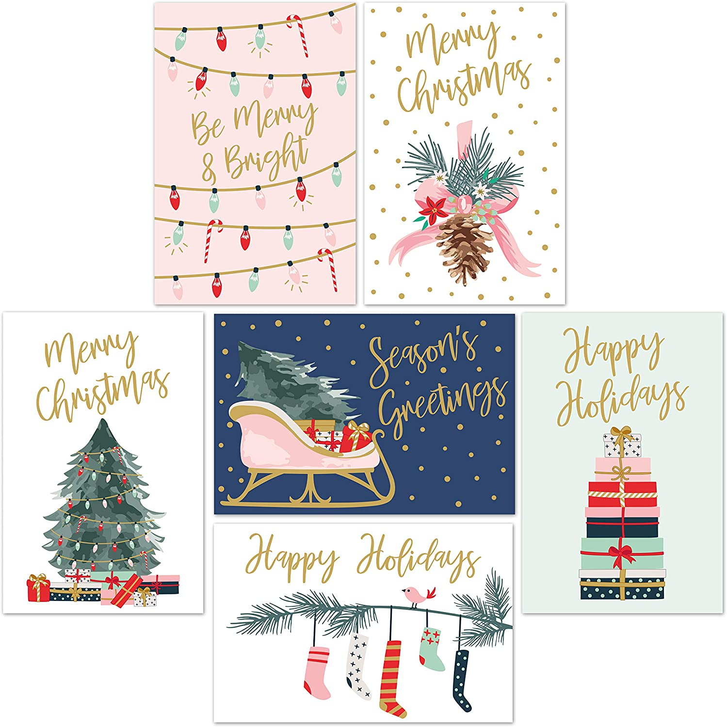 amazon com christmas cards set 24 gold foil holiday cards with red envelopes 6 assorted designs featuring traditional yuletide images bulk greeting and new years cards 4 25 x5 75 office products christmas cards set 24 gold foil holiday cards with red envelopes 6 assorted designs featuring traditional yuletide images bulk greeting and new