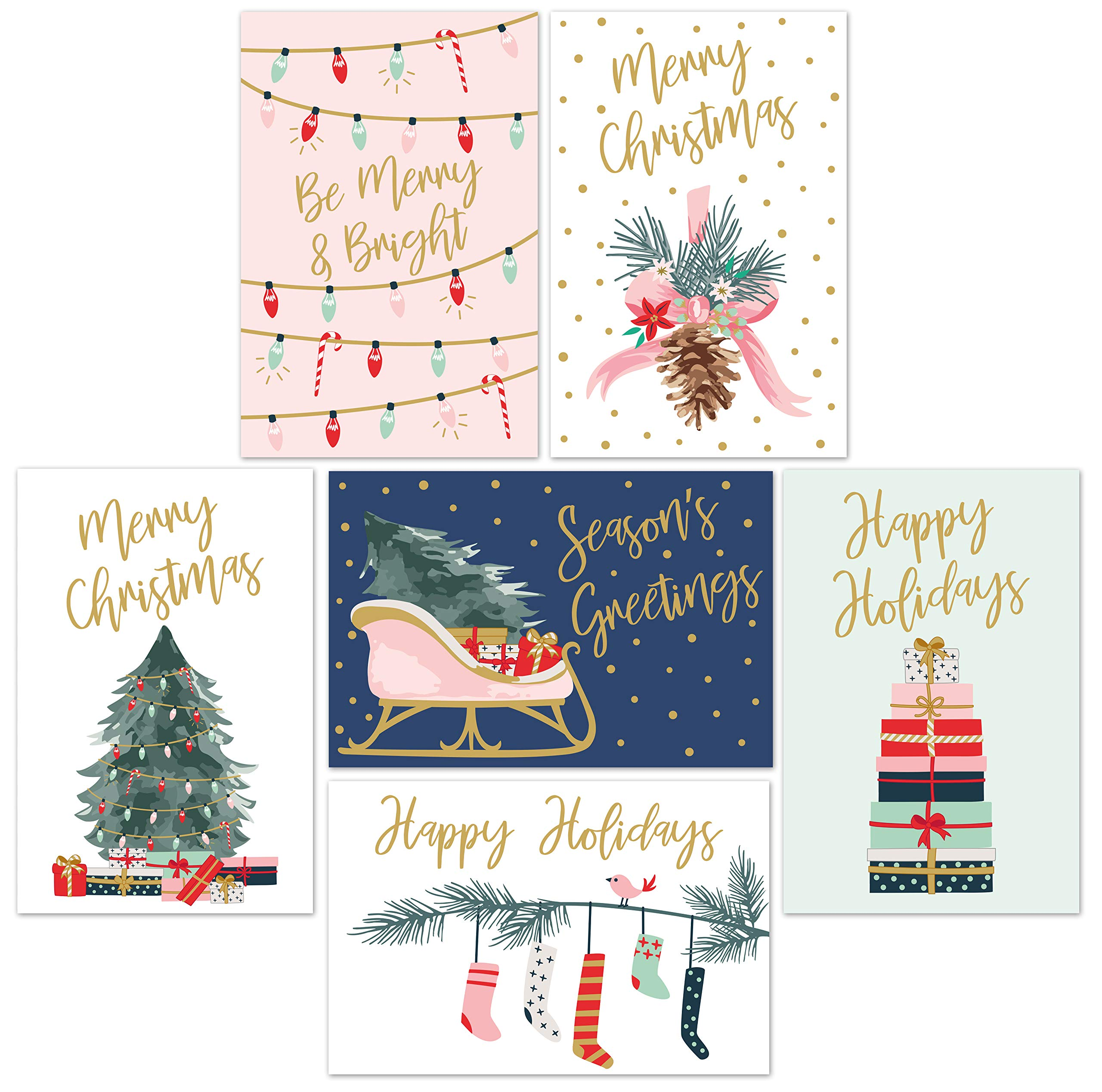 """Christmas Cards Set - 24 Gold Foil Holiday Cards with Red Envelopes – 6 Assorted Designs featuring Traditional Yuletide Images! Bulk Greeting and New Years Cards - 4x6"""""""