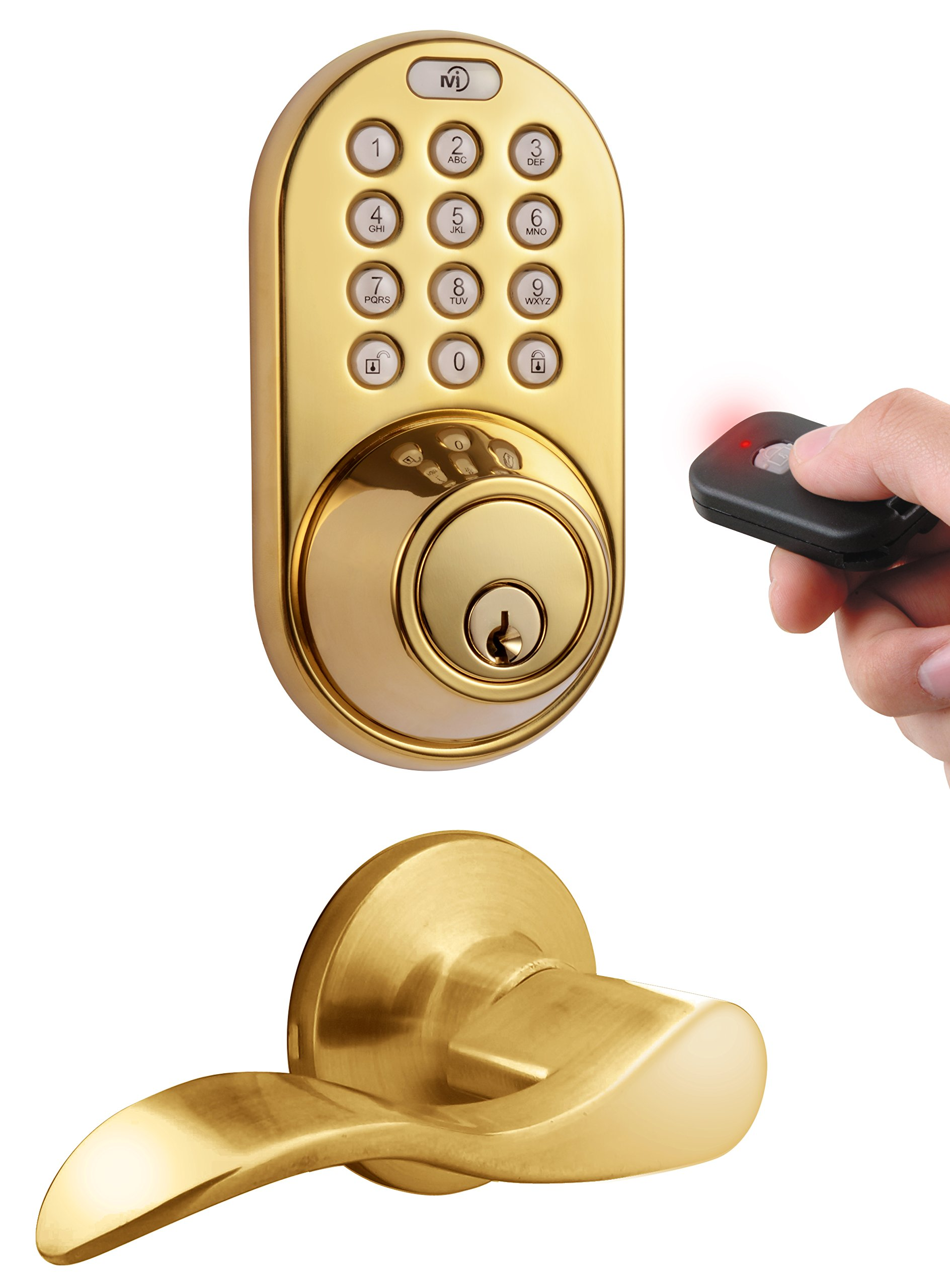 MiLocks XFL-02P Digital Deadbolt Door Lock and Passage Lever Handle Combo with Keyless Entry via Remote Control and Keypad Code for Exterior Doors, Polished Brass
