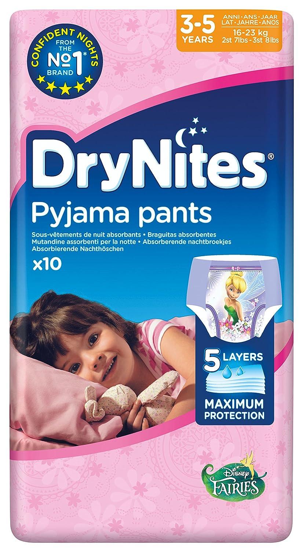 Huggies DryNites Pantalons de pyjama fille 2 x Lot de 3 (6 x 10 pièces) - 60 Couches Dry Nites 2142081 02142081