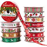 Pack of 12 Christmas Print Satin Fabric Ribbons - Craft Ribbon Assortment - for Gift Wrap, Craft Projects, DIY, Decoration, 0.6 Inches x 5 Yards, Assorted Christmas Themes