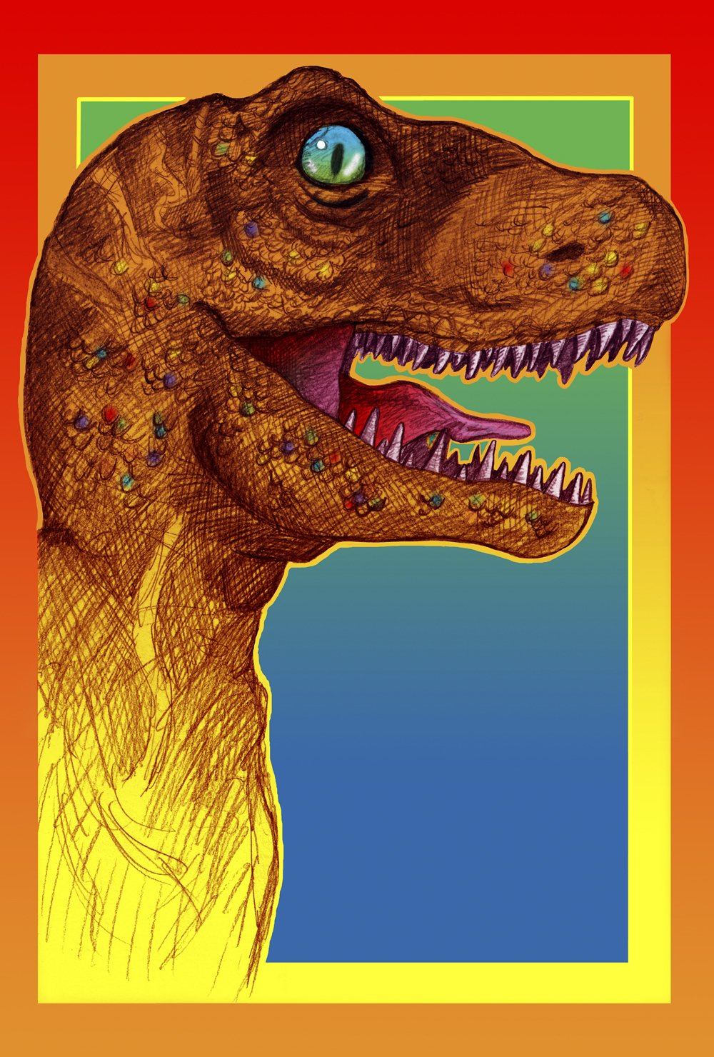 Toland Home Garden Rockin Dinosaur 28 x 40 Inch Decorative Colorful Pop Art Dino Tyrannosaurus Rex House Flag