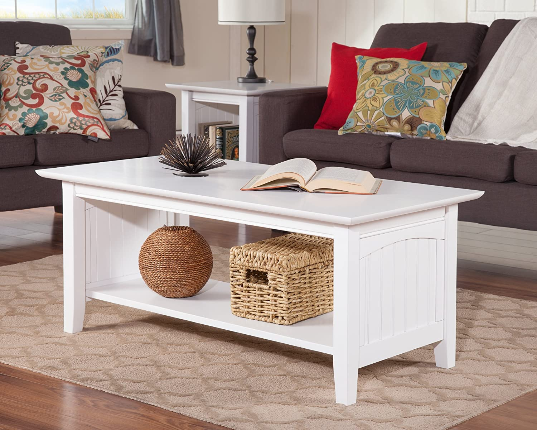 Amazon com atlantic furniture ah15302 nantucket coffee table rubberwood white kitchen dining