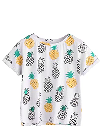af4d83344982 Amazon.com: Romwe Women's Pineapple Print Roll Cuff Short Sleeve T-Shirt  Tops White Medium: Clothing