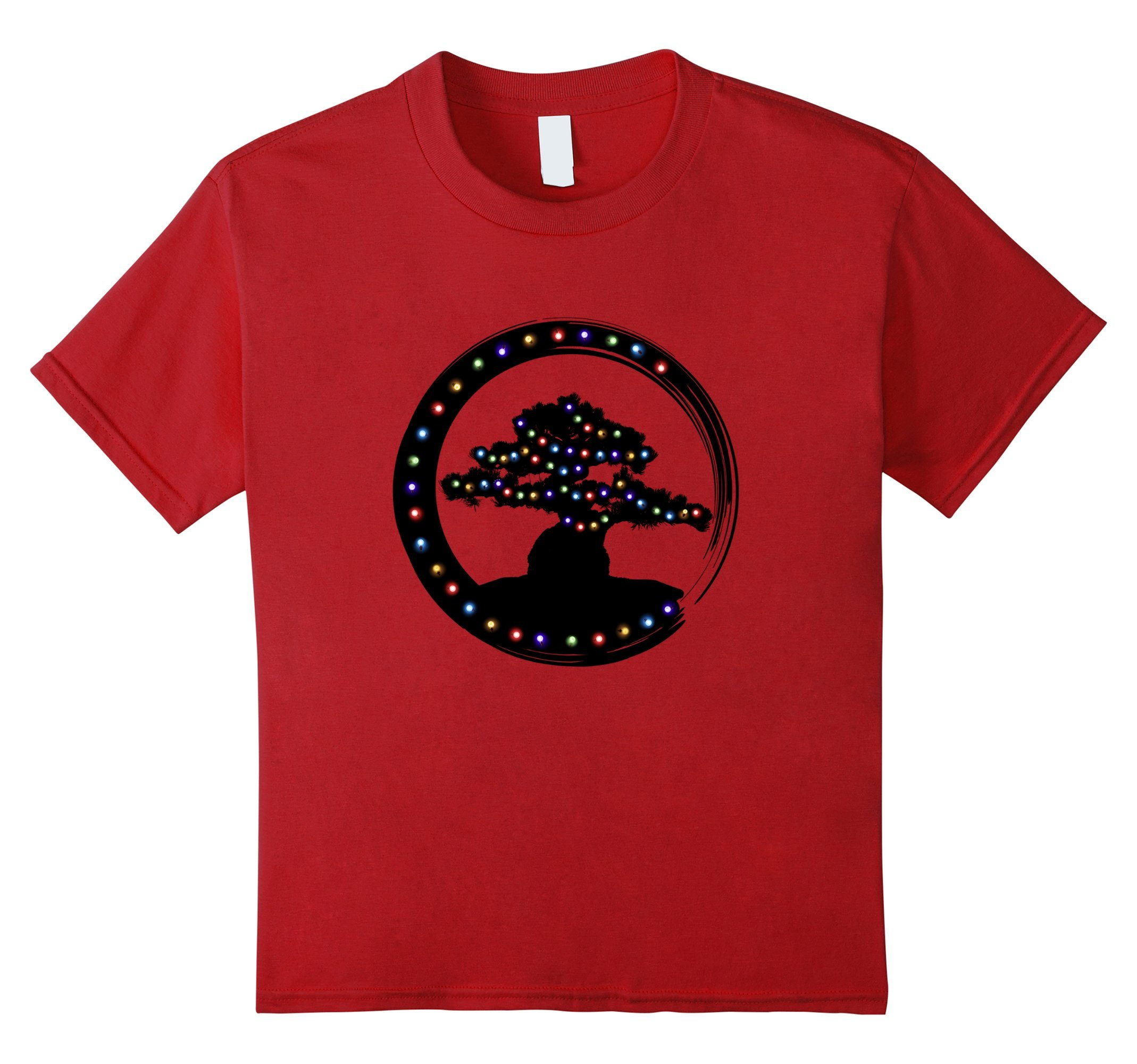 Kids Christmas Bonsai Tree Japanese Enso Circle Lights T-Shirt 8 Cranberry by Bonsai Tree T-shirt Co.