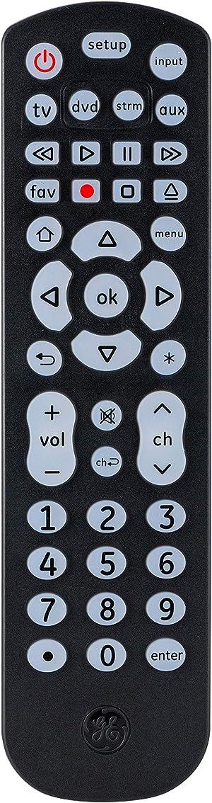 GE Backlit Universal Remote Control for Samsung, Vizio, LG, Sony, Sharp, Roku, Apple TV, RCA, Panasonic, Smart TV, Streaming Players, Blu-Ray, DVD, 4-Device, Black, 40081 Black, Backlit