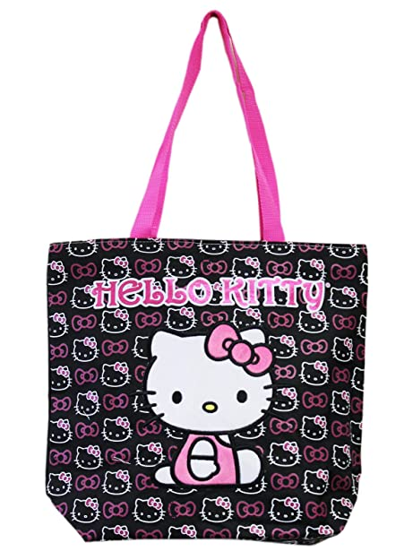 7bf404026 Amazon.com: Hello Kitty Face and Hair Bow Pattern Black and White Medium  Size Tote Bag: Shoes