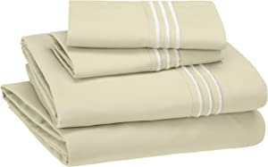 AmazonBasics Premium, Easy-Wash Embroidered Hotel Stitch Sheet Set - King, Aloe Green