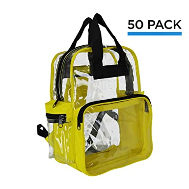 Amazon.com | Wholesale Clear Backpacks Small Book Bags 50 Pcs ...