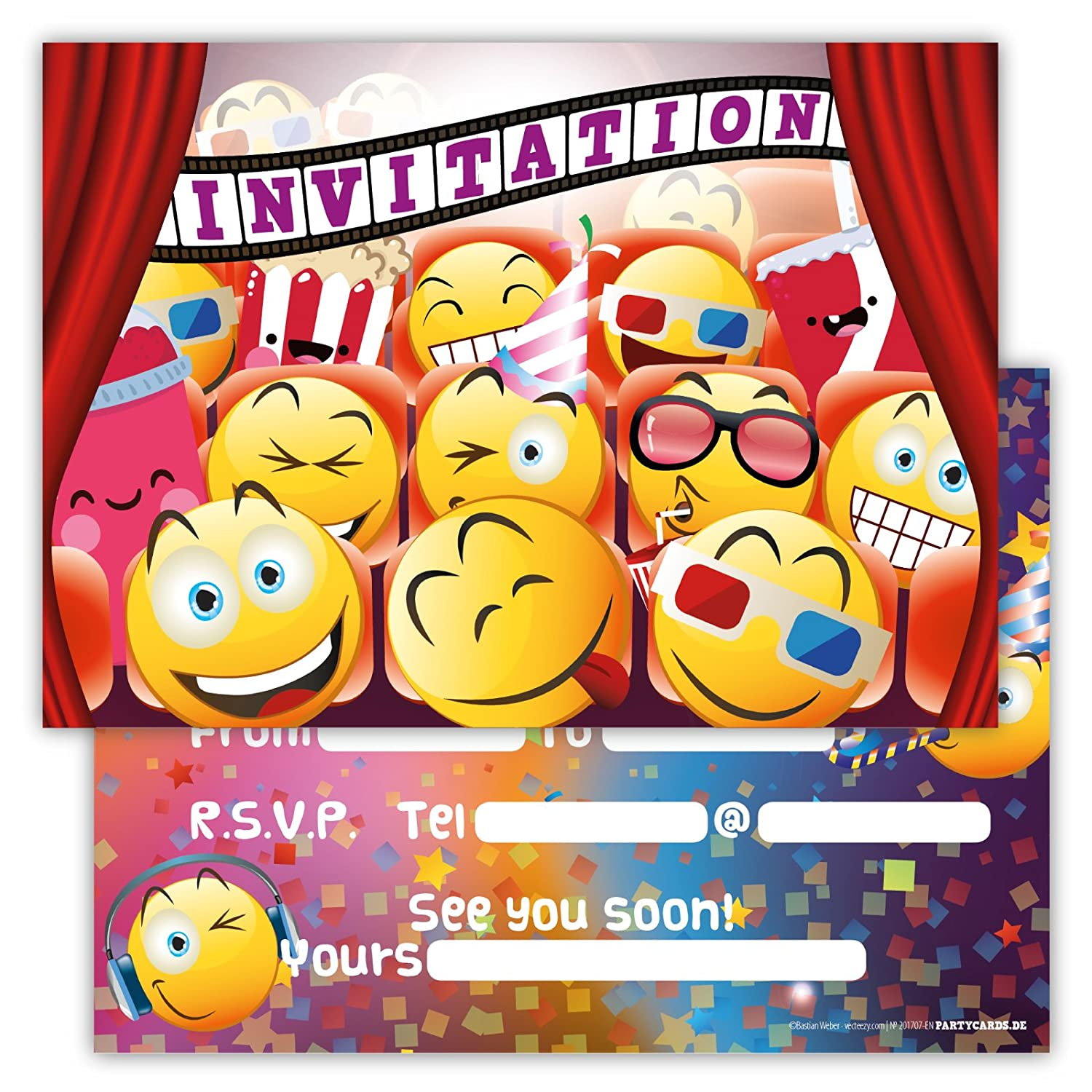 Funny Birthday Invitations Set Of 12 Cards For Boys Girls Kids Movie Cinema Party With Smiley Emoji Postcard Invitation Greetings Amazonin Toys