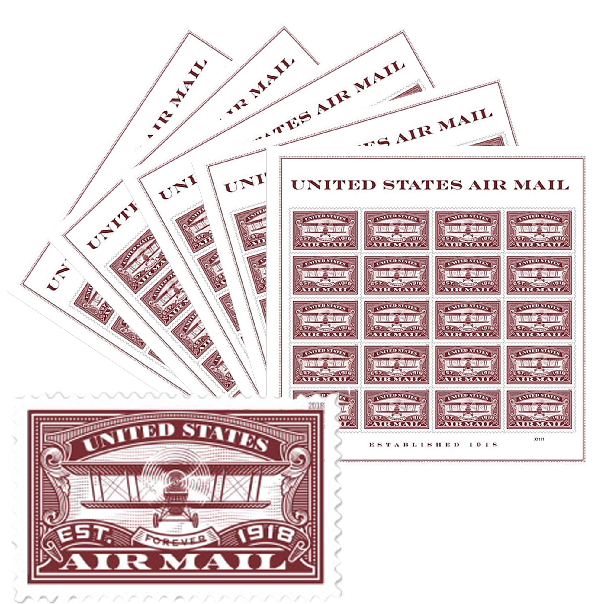 USPS Forever First Class Postage Stamp: Air Mail Red, 5 Sheets (100 Stamps) Wedding Celebration by USPS (Image #1)