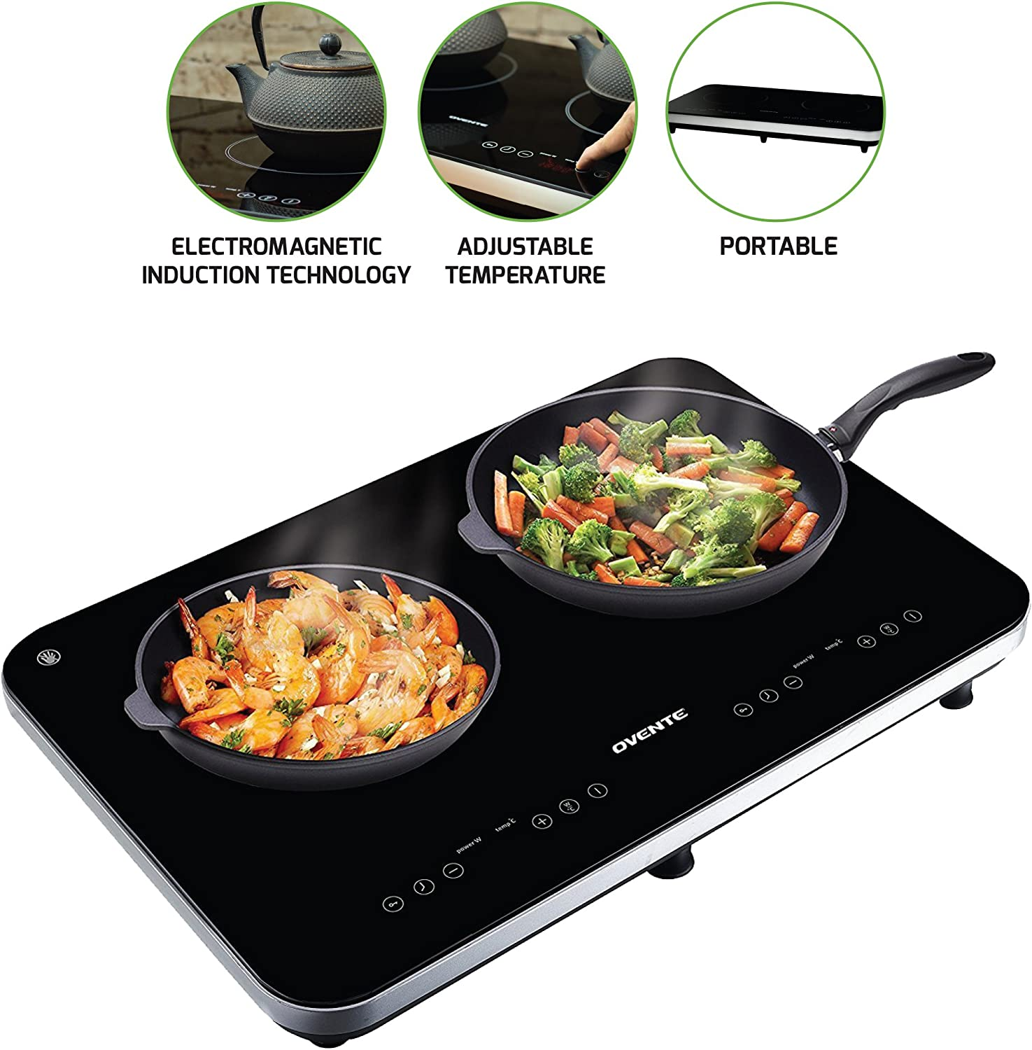 Ovente Induction Countertop Burner, Cool-Touch Ceramic Glass Cooktop with Temperature Control, Timer, 1800-Watts, Digital LED Touchscreen Display, Indoor Outdoor Portable Double Hot Plate BG62B