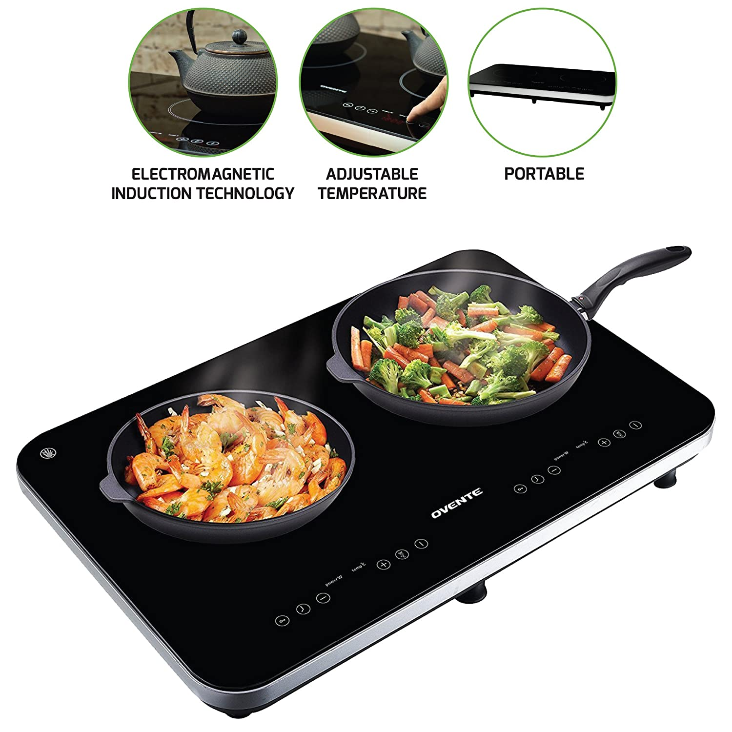 Ovente Ceramic Induction Cooktop Burner, 1800W, 8 Temperature Presets & 5 Timer Levels, Child Safety Lock, Stay-Cool Ceramic Glass Surface, LED Digital Display, Black (BG62B)
