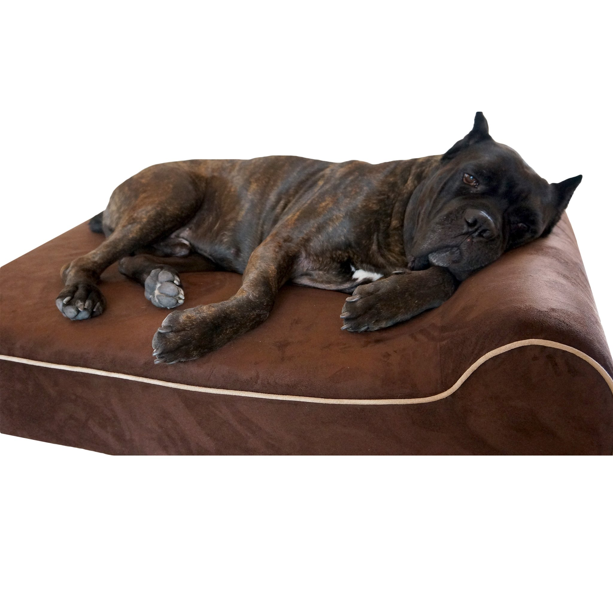 Bully Beds Orthopedic Memory Foam, Waterproof Bolster Beds For Large and Extra Large Dogs (Large, Chocolate)