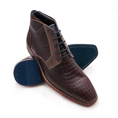 Zerimar Stivaletto in Pelle Elegante Scarpe in Pelle per Uomo Colore  Marrone Taglia 43 3938e416b28