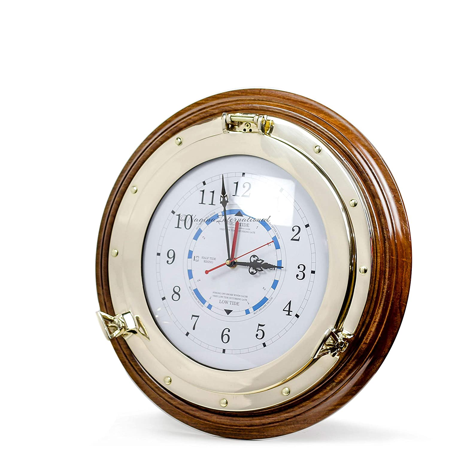 Nagina International Nautical Time Tide Clock with Brass Porthole Wooden Base – Captain Maritime Beach Home Decor Gift 16 Inches