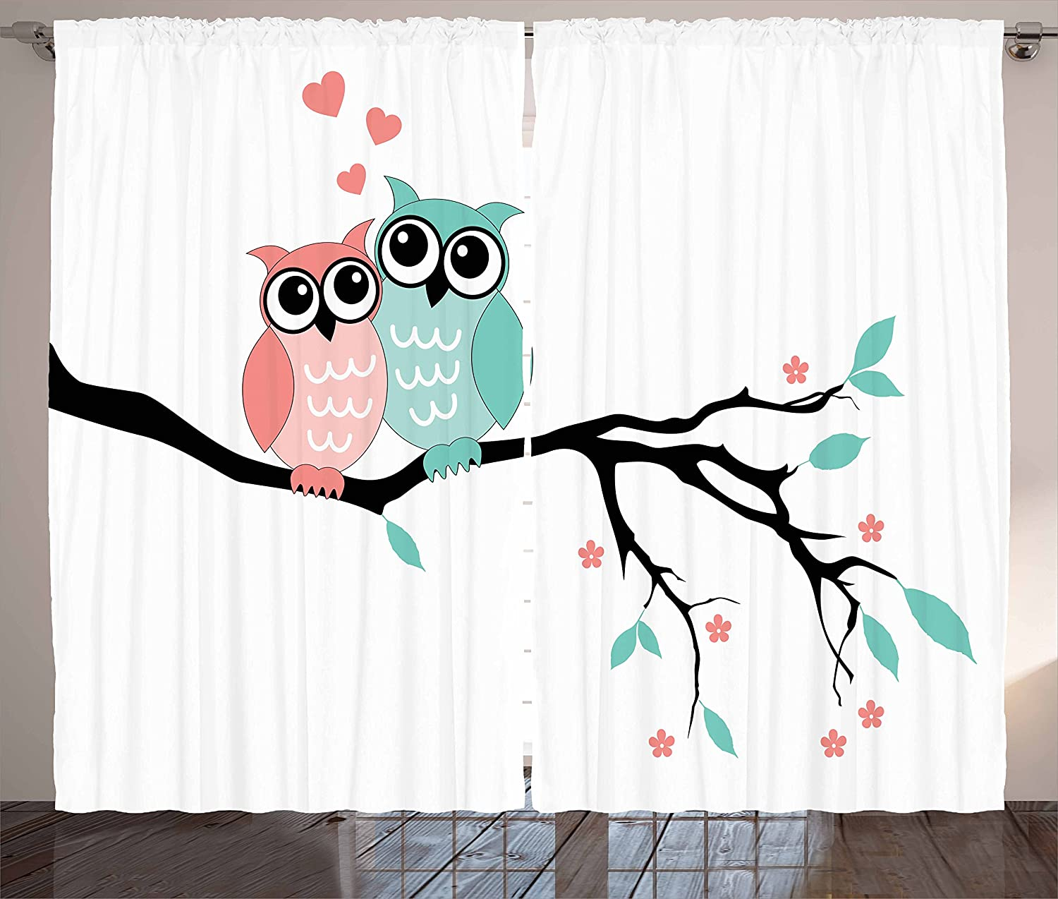 "Ambesonne Teal and White Curtains, Owl Couple Sitting on Tree Branch Valentines Romance Love, Living Room Bedroom Window Drapes 2 Panel Set, 108"" X 84"", Turquoise Black"