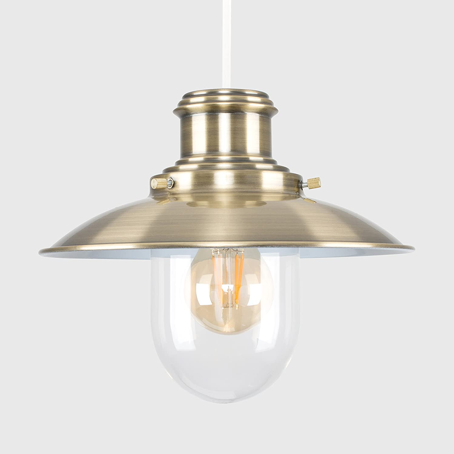 Minisun Modern Antique Brassed Effect Metal And Glass Fishermans Brushed Satin Chrome Light Pull Cord Switch Amazoncouk Lighting Vintage Style Steampunk Lantern Easy Fit Ceiling Lamp Pendant