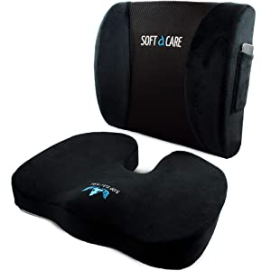 SOFTaCARE Seat Cushion Coccyx Orthopedic Memory Foam and Lumbar Support Pillow, Set of 2 (Black, 2 pcs)