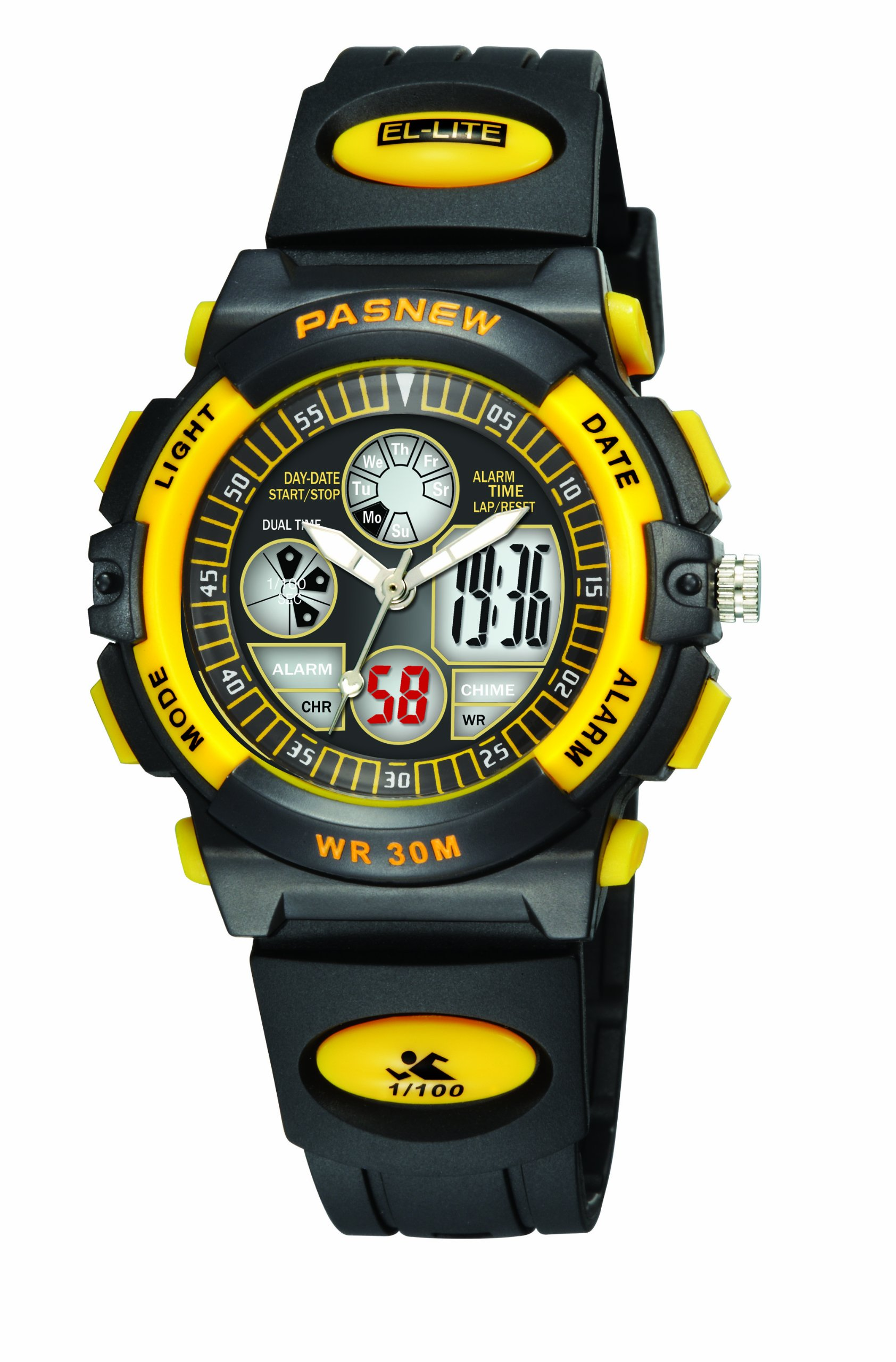 30m Water-proof Digital-analog Boys Girls Sport Digital Watch with Alarm Stopwatch Chronograph (Child) 6 Colors (Yellow-black) by PASNEW