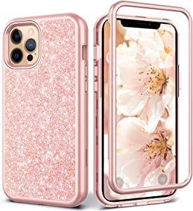 Coolwee Glitter Full Protective Case for iPhone 12 Pro Max Heavy Duty Hybrid 3 in 1 Rugged Shockproof Women Girls Rose Gold for Apple iPhone 12 Pro Max 6.7 inch Shiny Bling