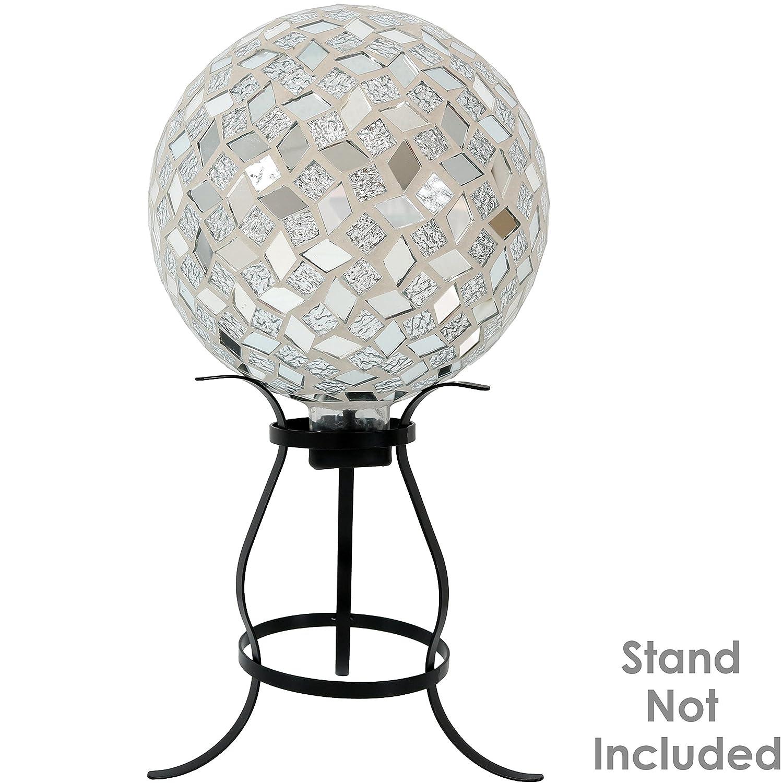 Set of 2 Sunnydaze Mirrored Diamond Mosaic Gazing Globe Ball 10-Inch