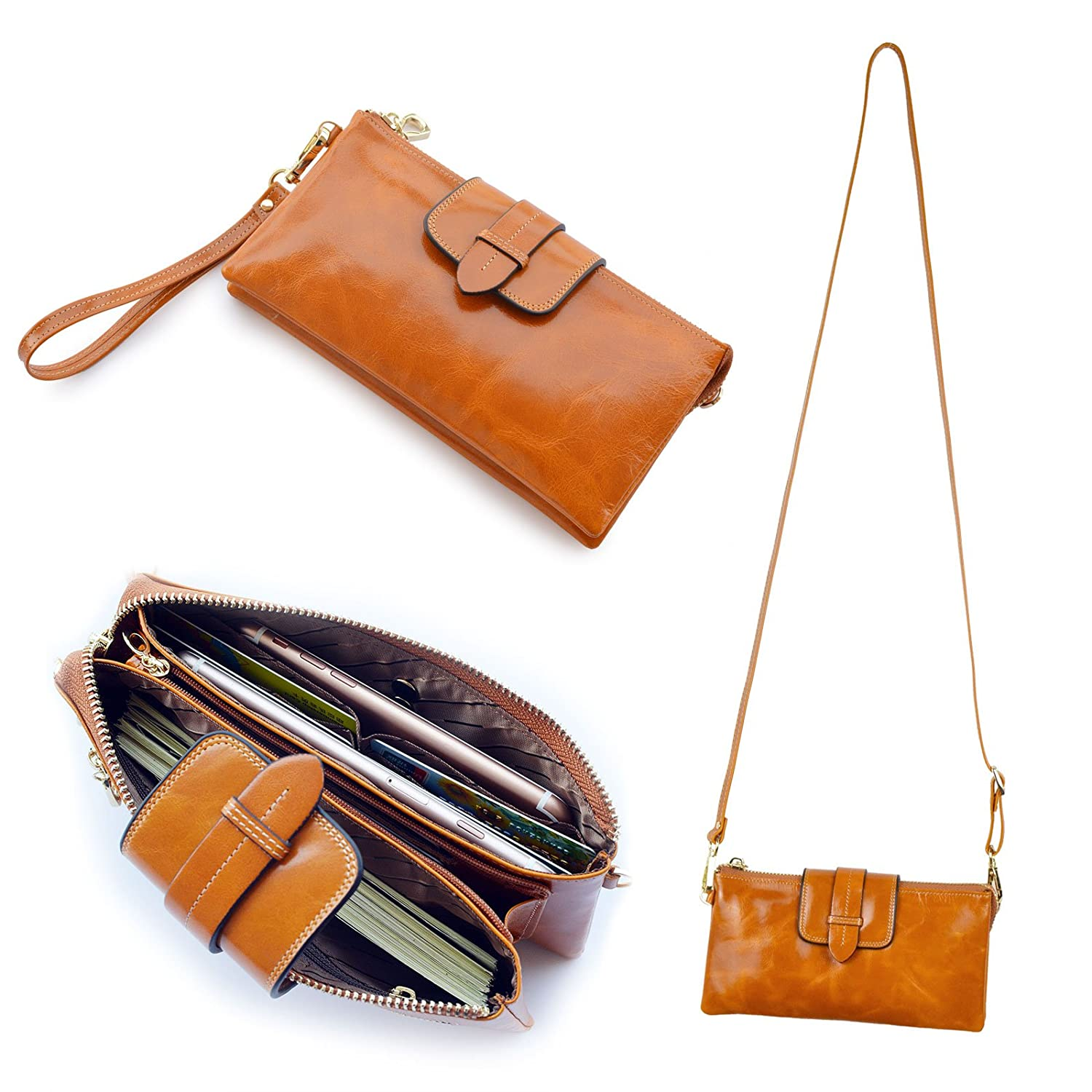 Bveyzi Womens Leather Smartphone Wristlet Clutch Wallet with Shoulder Strap BE8607TAN