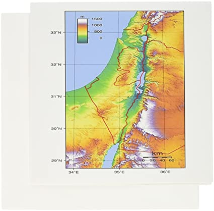 Amazon Com 3drose Image Of Topographic Map Of Israel Greeting