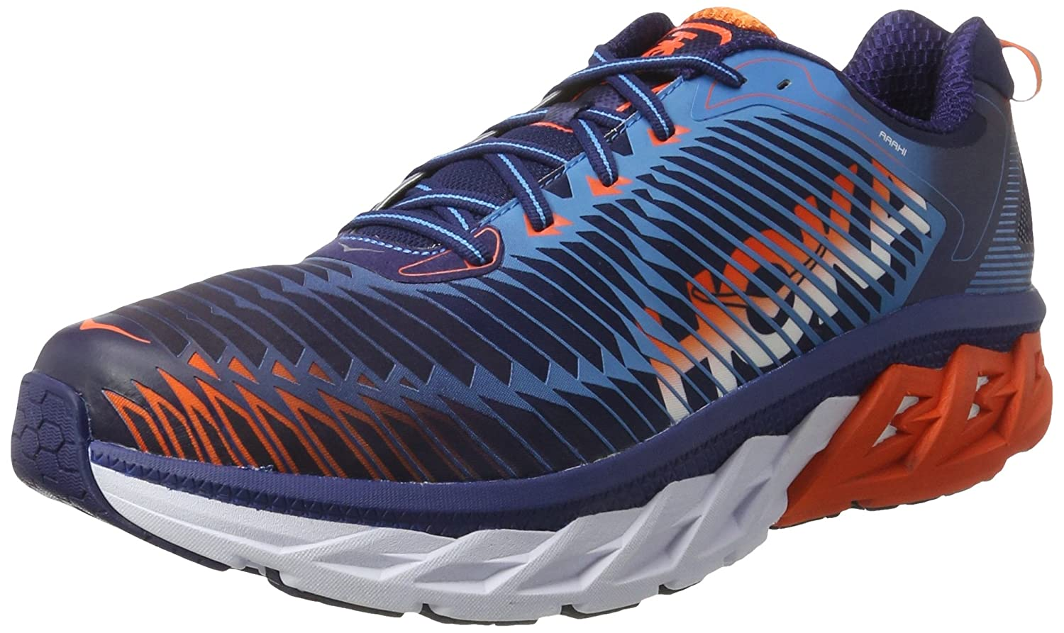 HOKA ONE ONE Mens Arahi Running Shoe B01H6AY2U0 10 D(M) US|Medieval Blue/Red Orange