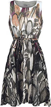 Innocent Feather Riot Dress Kleid braun/weiß S