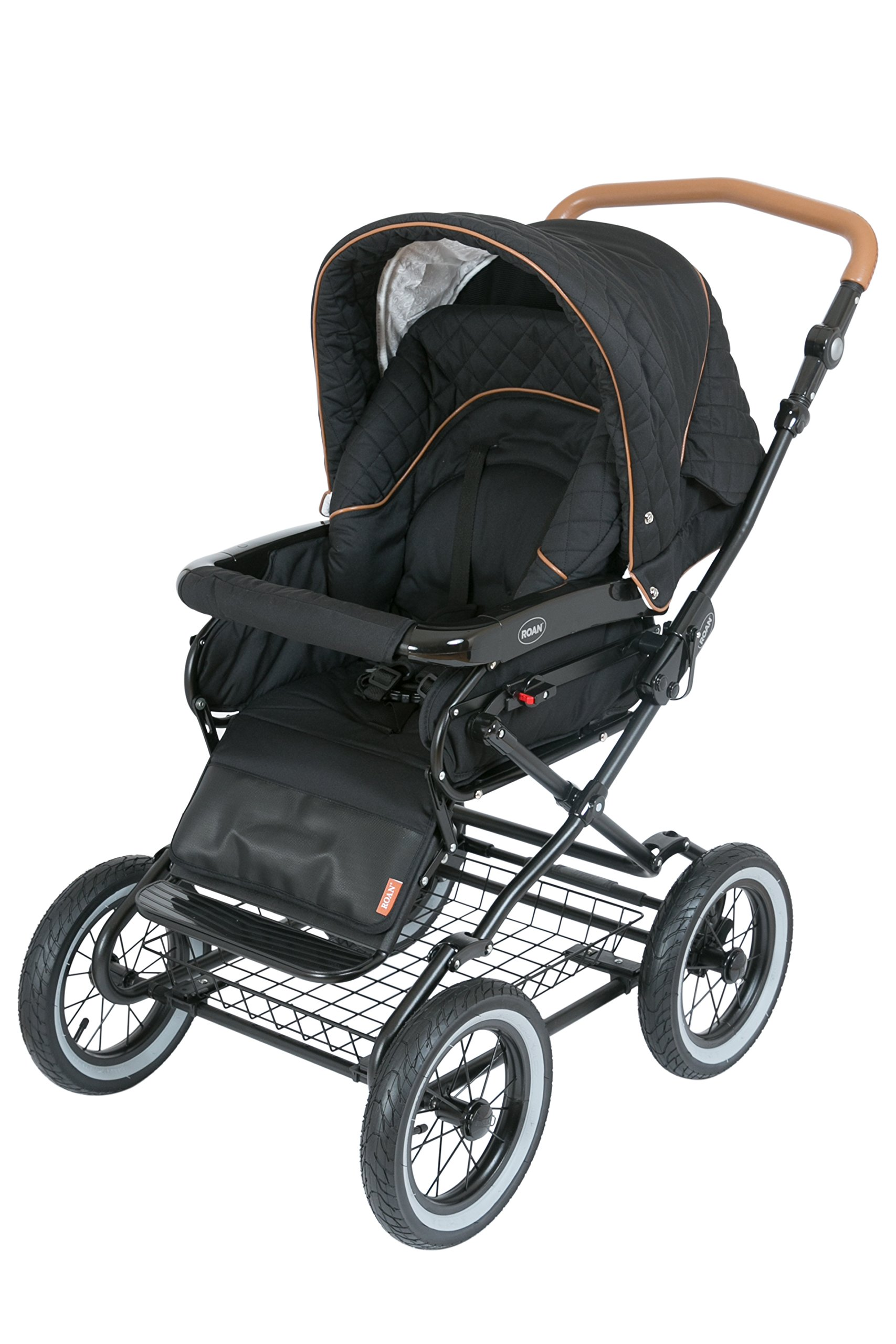 Luxury Roan Kortina 2-in-1 Pram Stroller Pushchair with Big Baby Bassinet and Toddler Reclining Seat with Five Point Safety System UV Proof Canopy and Storage Basket for child up to 3 year (graphite) by ROAN (Image #4)