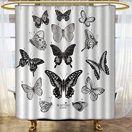Anhounine Butterfly Fabric Shower Curtains Large Collection Of Hand Drawn Butterflies Modern Realistic Artwork Patterned