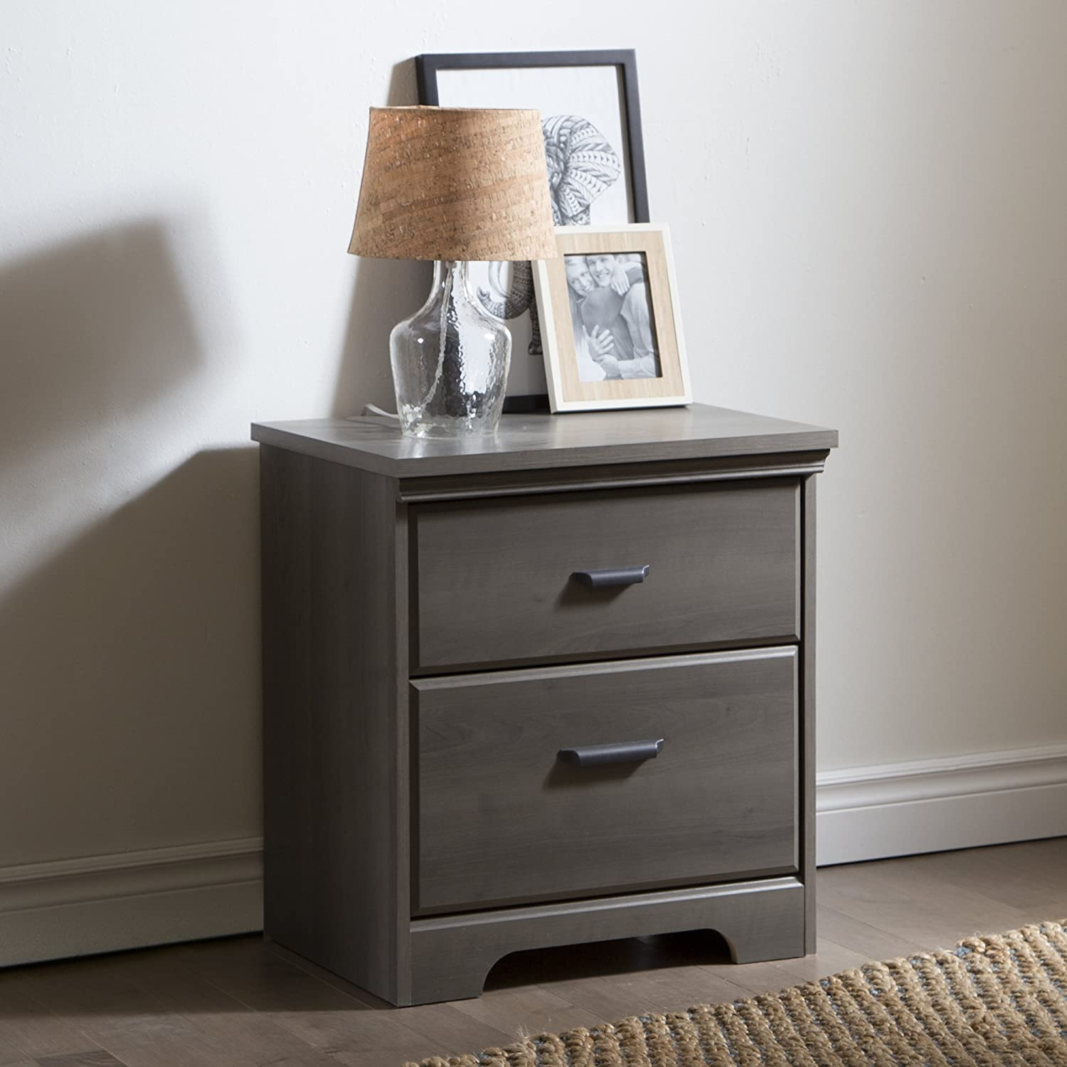Amazon.com: South Shore Versa 2 Drawer Night Stand, Gray Maple: Kitchen U0026  Dining