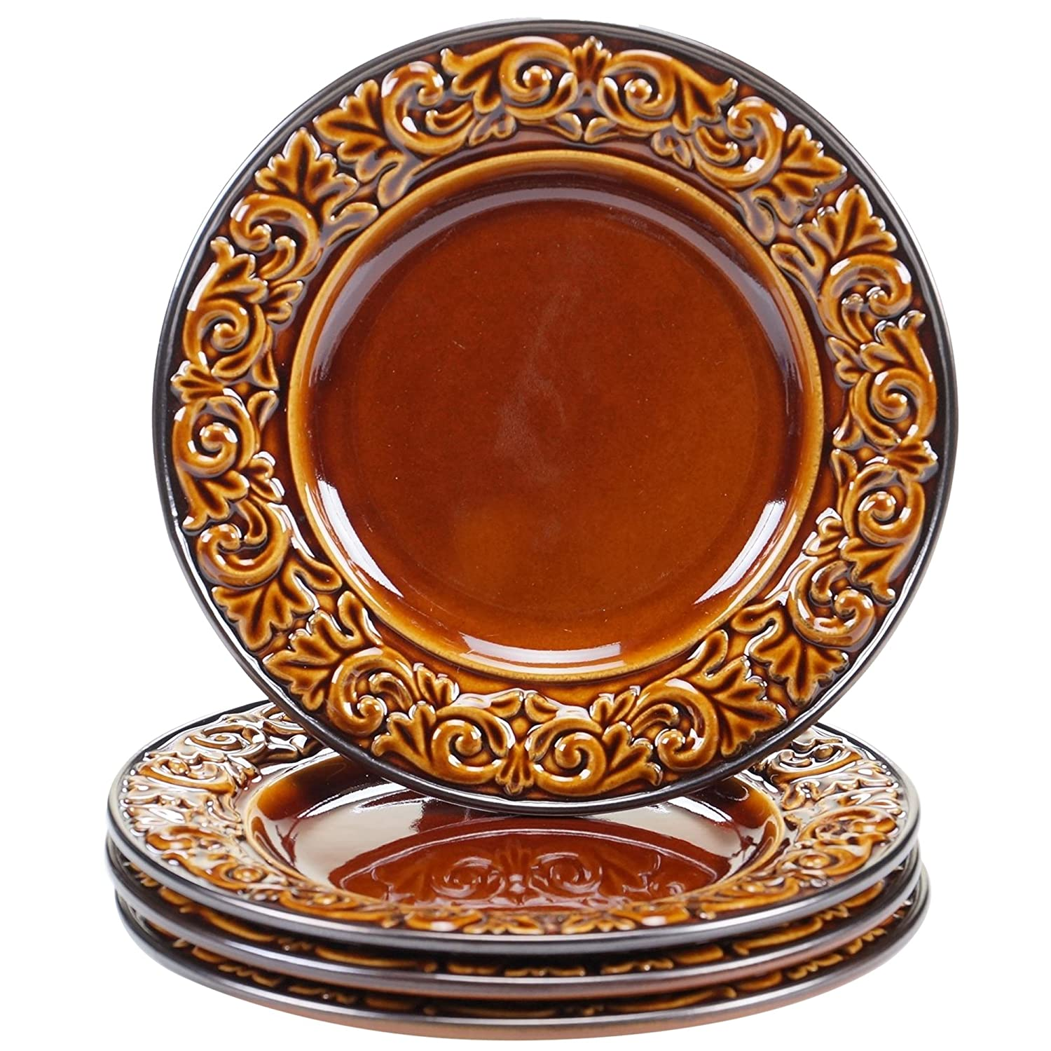 Certified International 57626SET/4 Solstice Dessert Plates (Set of 4), 8.75-Inch, Brown