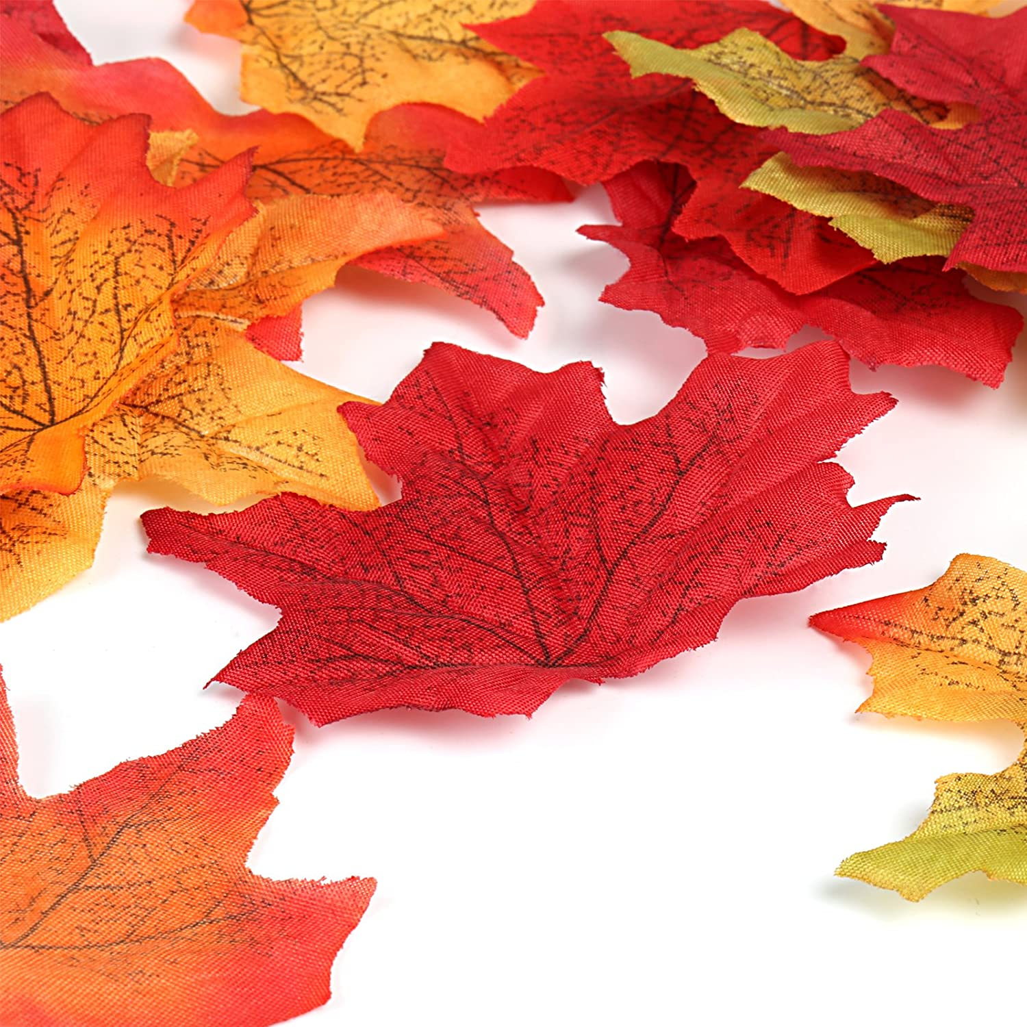 Naler 300pcs Artificial Maple Leaves Multicoloured Fall Coloured Maple Leaves for Art Scrapbooking Wedding House Decorations Autumn Christmas Party Decorating 3.1 inches