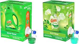 Gain Laundry Detergent eco-Box, Original Scent + Gain Eco-Box Liquid Fabric Softener, Original Scent