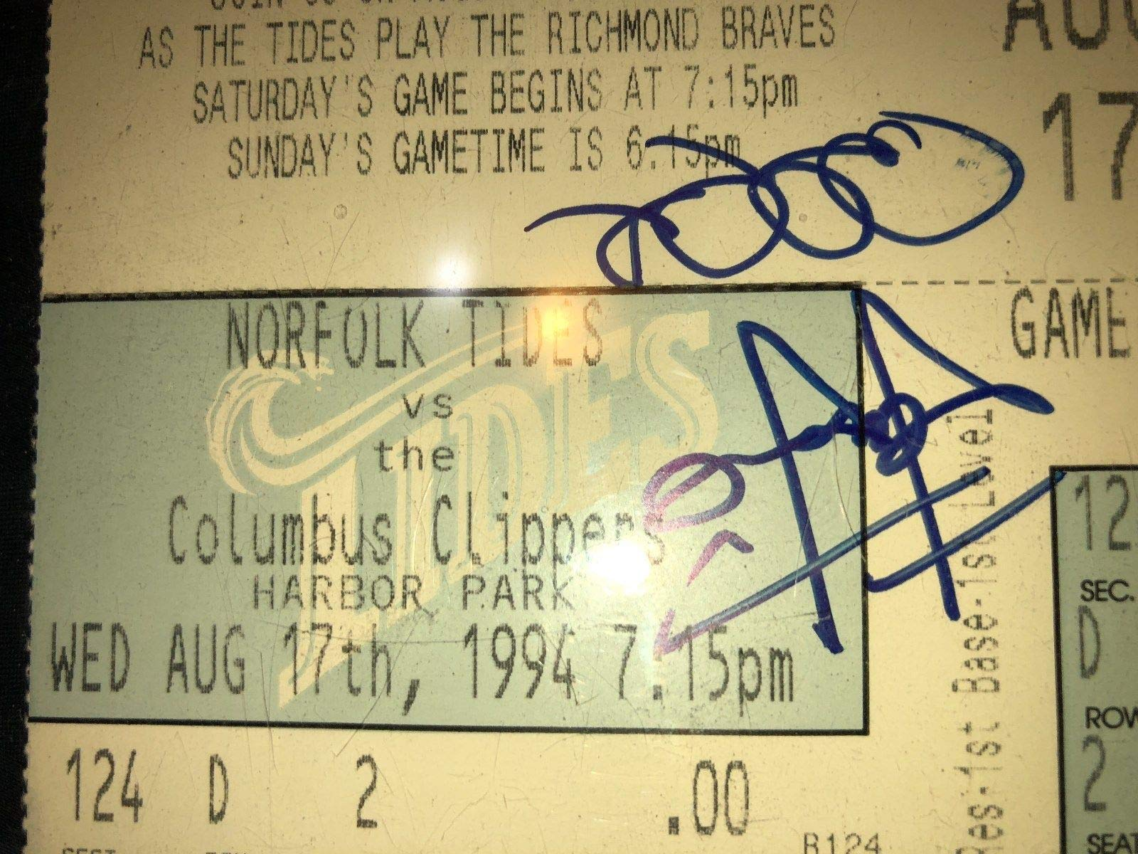 Derek Jeter Rare Autographed Signed Autograph 1994 Minor League Ticket Stub Sports Memorabilia PSA