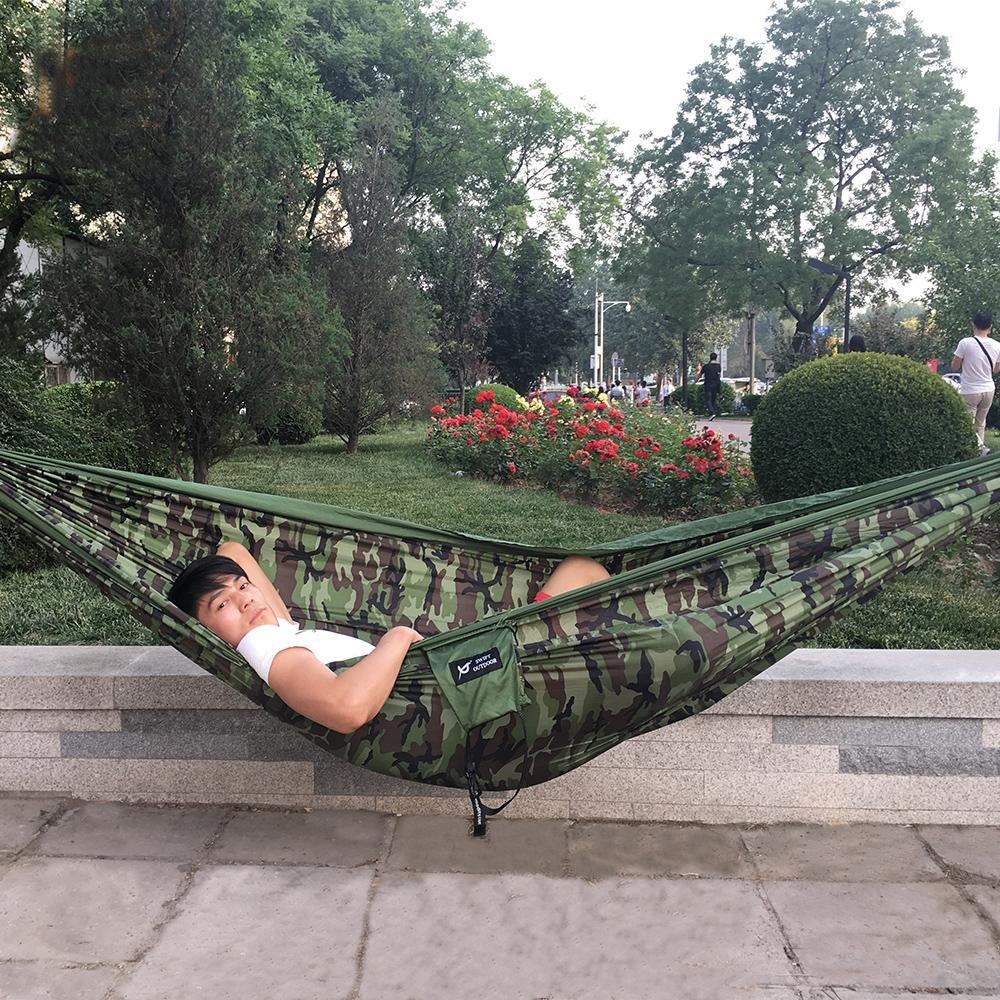 Hbzll 0,6 kg 300 x 180 cm 2 Personen Reise Camping outdoor Nylon Stoff Double Hängematte Parachute Hundebett für Camouflage Armee