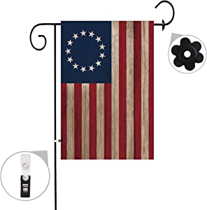 Bonsai Tree Burlap Betsy Ross Spring Garden13 Star Flags 12x18 Prime Double-Sided Seasonal Yard Outdoor Decorative Flag Banner Stopper & Anti-Wind Clip