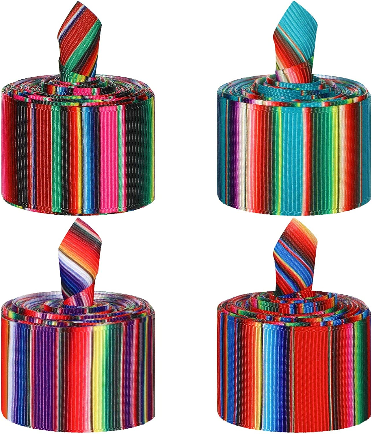 4 Pieces Fiesta Ribbon Mexican Serape Ribbon Rainbow Stripes Ribbon Colorful Grosgrain Ribbon for DIY Wrapping, Fall Crafts Decoration, Party Decoration, Crafting Sewing Supplies