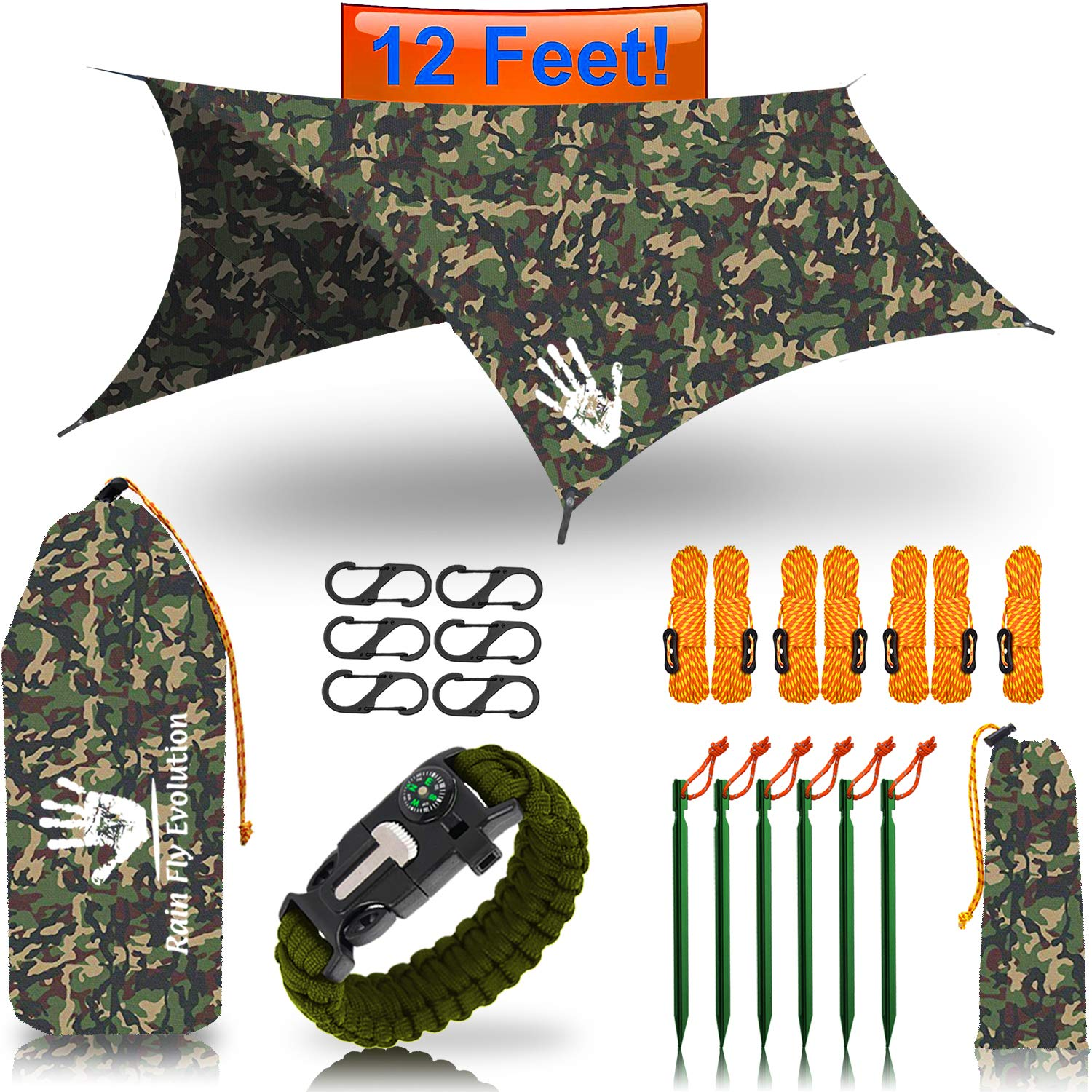 Hammock RAIN Fly Tent TARP 12x10 or 10x10 ft & Survival Bracelet Gear - Waterproof Eno Rain Cover - Lightweight Diamond Ripstop Nylon - Multiple Colors (Discounted CAMO 12x10 - Green Bracelet) by Rain Fly EVOLUTION