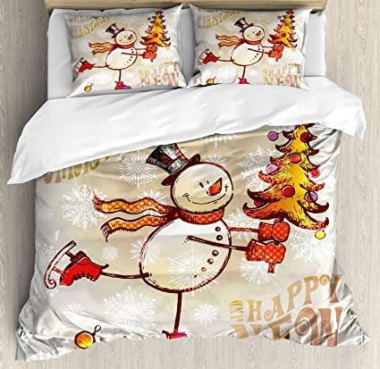 Christmas Bedding Sets Queen.Ambesonne Christmas Duvet Cover Set Queen Size Skating Happy Snowman With Christmas Tree Cheerful Hand Drawn Ornate Snowflakes Decorative 3 Piece